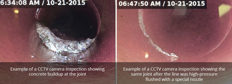 Example of a CCTV camera inspection showingconcrete buildup at the joint | Example of a CCTV camera inspection showing thesame joint after the line was high-pressureflushed with a special nozzle
