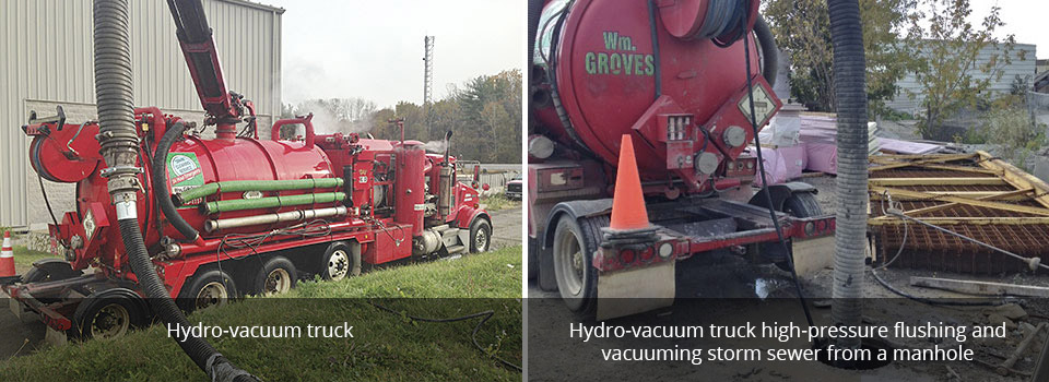 Hydro-vacuum truck | Hydro-vacuum truck high-pressure flushing andvacuuming storm sewer from a manhole