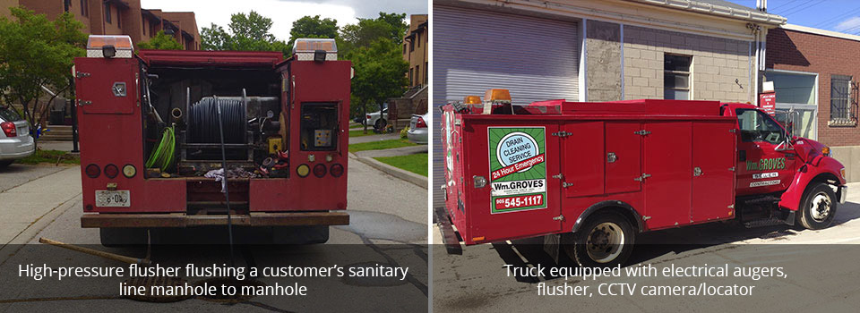 High-pressure flusher flushing a customer's sanitaryline manhole to manhole | Truck equipped with electrical augers,flusher, CCTV camera/locator