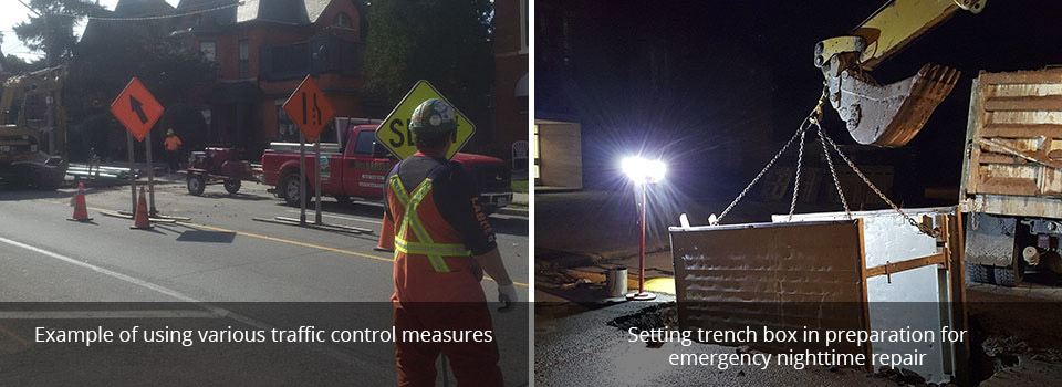 example of using various traffic control measures | setting trench box in preparation for emergency nighttime repair