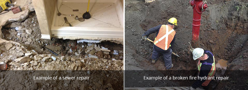 Example of a sewer repair | Example of a broken fire hydrant repair