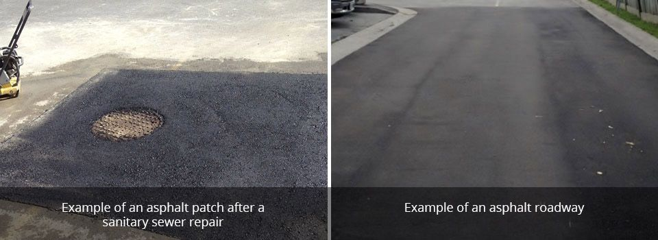 Example of an asphalt patch after asanitary sewer repair | Example of an asphalt roadway