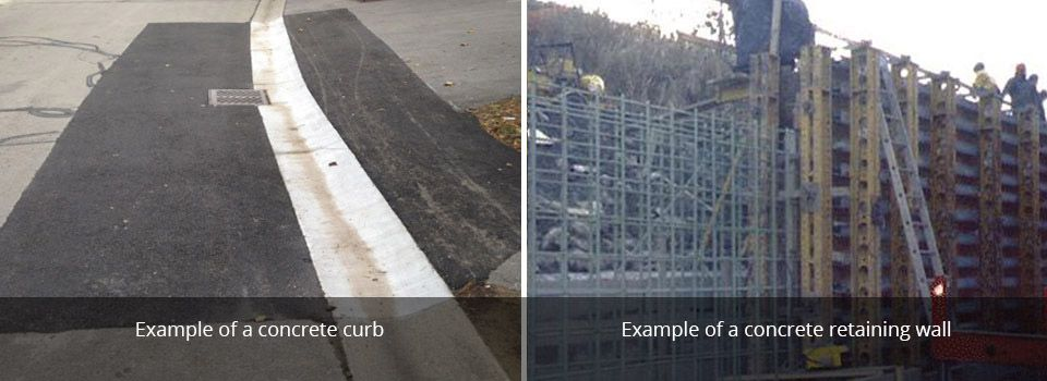 Example of a concrete curb | Example of a concrete retaining wall