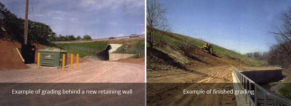 Example of grading behind a new retaining wall | Example of finished grading
