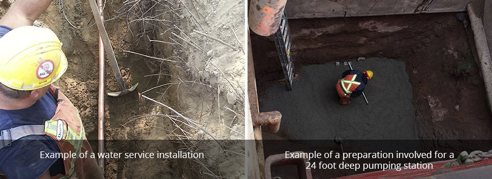 Example of a water service installation | Example of a preparation involved for a24 foot deep pumping station