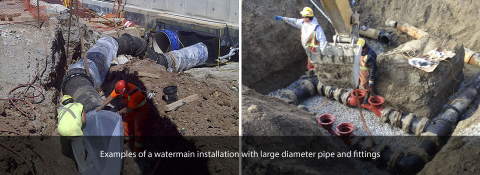 Examples of a watermain installation with large diameter pipe and fittings